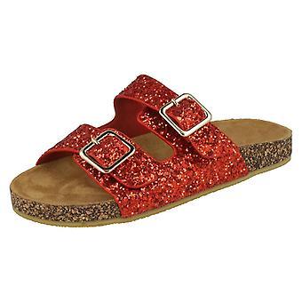 Girls Spot On Glitter Sandals - Gold Synthetic - UK Size 13 - EU Size 32 - US Size 1