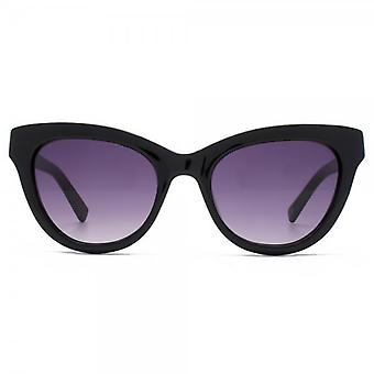 French Connection Premium Peaked Cateye Sunglasses In Shiny Black