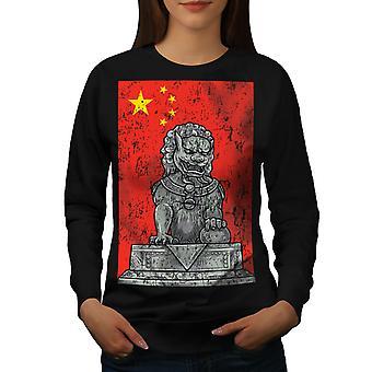 Kina Flag løve Fantasy kvinder BlackSweatshirt | Wellcoda