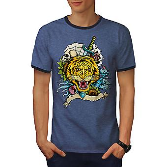 Tiger Face Men Heather Blue / NavyRinger T-shirt | Wellcoda