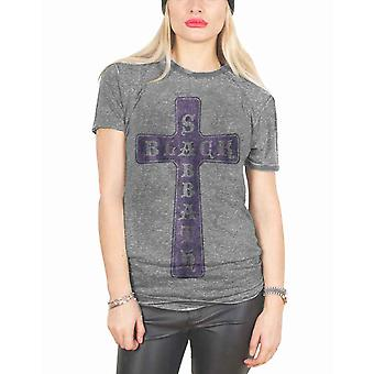Black Sabbath T Shirt Vintage Cross Official Womens New Grey Skinny Fit Burnout