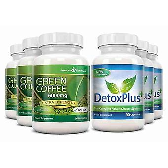 Green Coffee Bean Extract 6000mg Detox Combo Pack - 3 Month Supply - Fat Burning and Colon Cleansing - Evolution Slimming