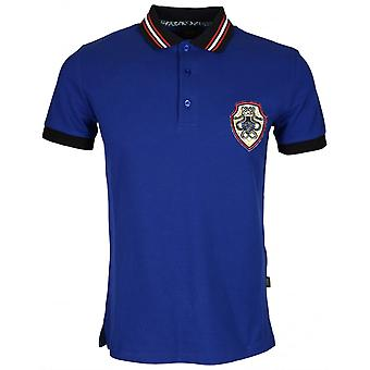Cavalli Class B3jrb714 Jersey Stretch Snake Logo Peacock Blue Polo