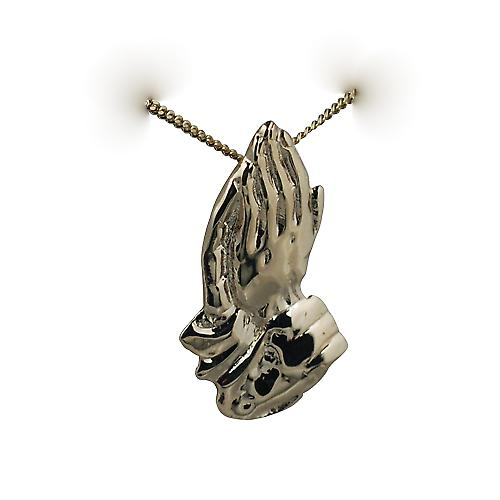 9ct Gold 39x22mm Praying hands Pendant with a curb chain only siutable for children