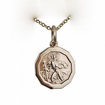 9ct Złota 13x13mm dodecagonal St Christopher wisiorek z kablem łańcucha 16 cali nadaje się tylko dla dzieci