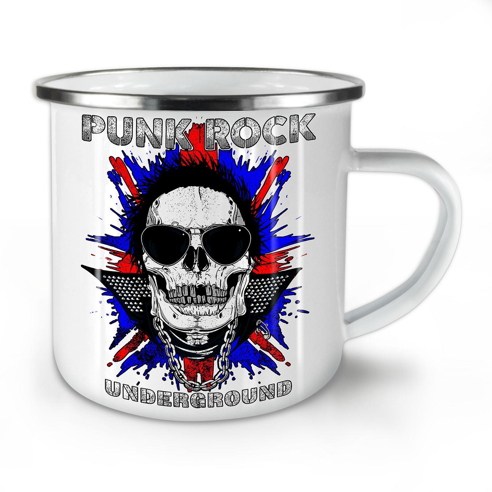 Rock Coffee Whitetea Death Funk Skull Mug10 New OzWellcoda Enamel j4AL5R