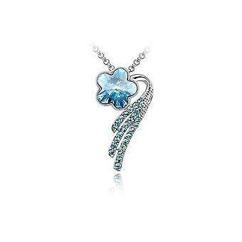Womens Flower Petal Pendant Necklace Blue Crystal