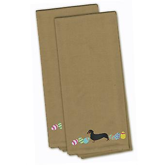 Dachshund Easter Tan Embroidered Kitchen Towel Set of 2