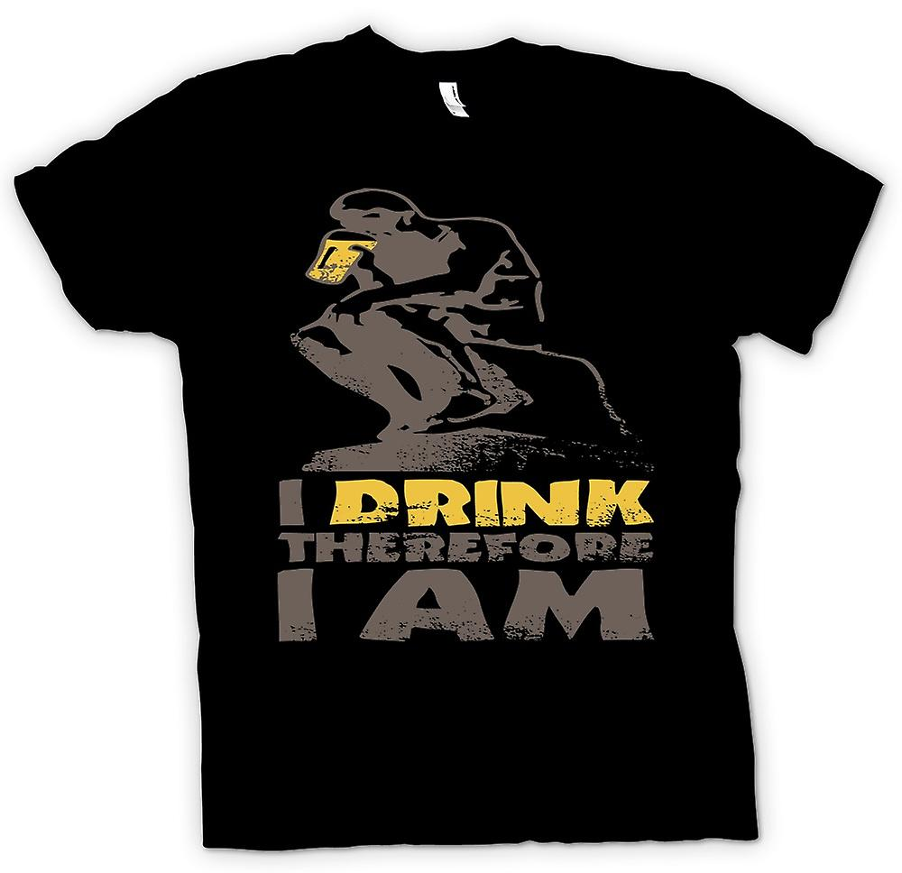 Mens T-shirt - I Drink Therefore I Am - Funny