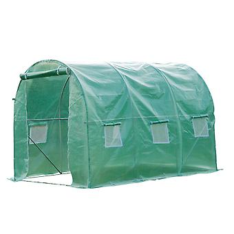 Outsunny Walk in Polytunnel Outdoor Garden Greenhouse with Windows and Doors (3 x 2M)