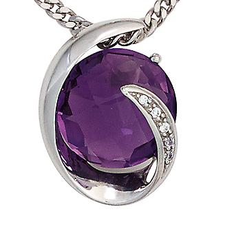 Amethyst pendant 585 gold white gold Amethyst 1 5 diamonds brilliant 0, 02 ct.