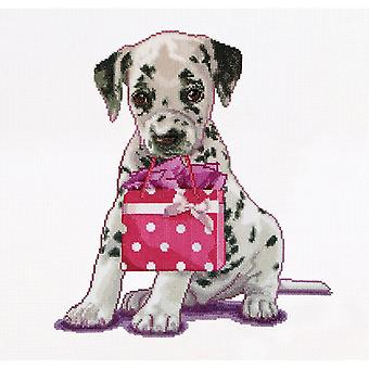 Puppy Went Shopping On Aida Counted Cross Stitch Kit-12.25