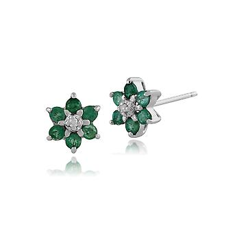 Gemondo 9ct White Gold 0.37ct Emerald & Diamond Floral Cluster Stud Earrings