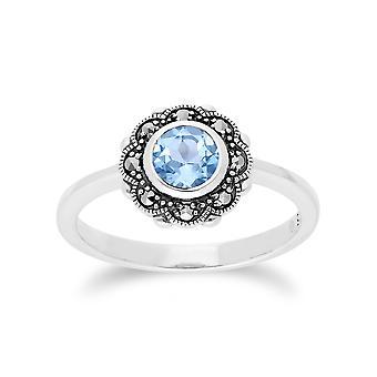 Gemondo Sterling Silberring blauer Topas & Markasit Jugendstil Floral
