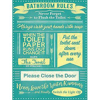 Bathroom Rules Large Steel Sign 400Mm X 300Mm