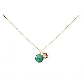 Gemshine - damer - halsband - hänge - Emerald - smoky quartz - grön - brun - guldpläterat 925 Silver - 45 cm