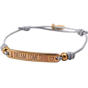 Gemshine - Damen - Armband - Gravur - A DREAM COME TRUE - Rose Vergoldet - Hellgrau