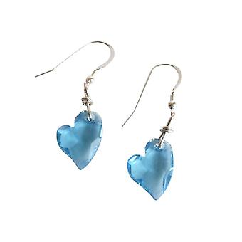 Gemshine - women - heart - earrings - 925 - devoted 2 U - * aquamarine * - blue - MADE WITH SWAROVSKI ELEMENTS® - 2 cm