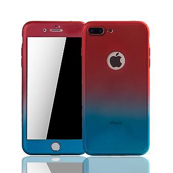 Apple iPhone 8 plus mobiltelefon fall Skyddsfodral täcker tank skyddsglas röd / blå