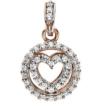 Позолоченные сердца кулон 925 стерлингового серебра с кубического циркония сердца кулон биколор