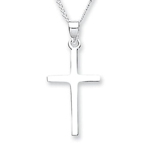 Sterling Silver Plain Small Cross with 46cm Chain