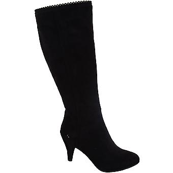 Dames mantel Trim puntige teen zwart suedine vrouwen hoge knie laarzen hakken