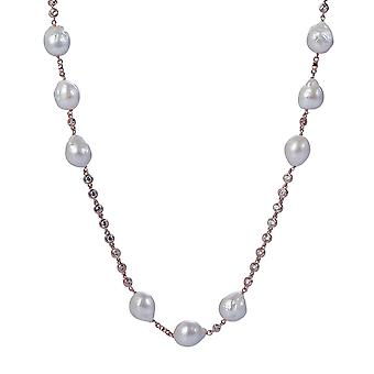 Orphelia Silver 925 Necklace Rose with Pearls and Zirconium 92 CM
