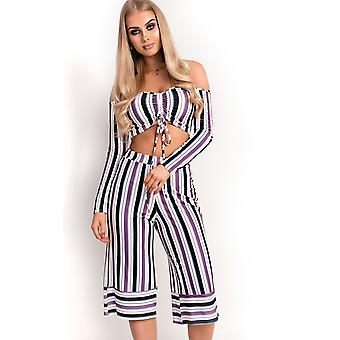 IKRUSH Womens Val Off Shoulder Culotte Striped Co-ord