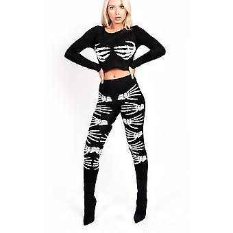 IKRUSH Womens Skeleton Hands Fancy Dress Leggings
