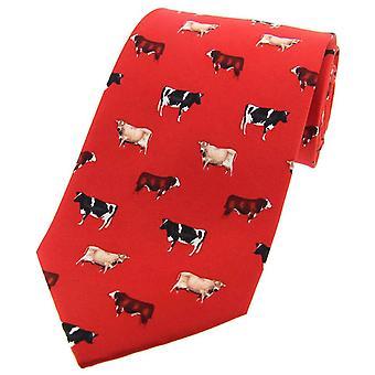 David Van Hagen Cow Breeds Country Silk Tie - Red