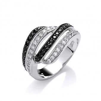 Cavendish Franse zwart-wit Cubic Zirconia Twist Ring