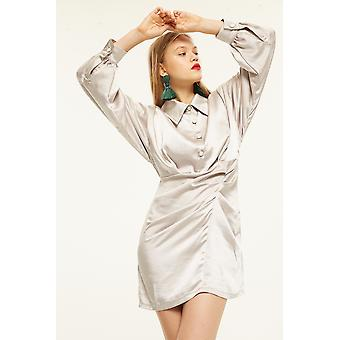 Ghospell Satin Shirt Dress With Knot Detail