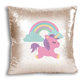 i-Tronixs - Unicorn Printed Design Champagne Sequin Cushion / Pillow Cover for Home Decor - 4