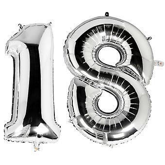 TRIXES metallico argento 40 pollici numero 18 Milestone compleanno palloncini a foglio per feste e celebrazioni di sorpresa