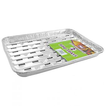 Pack of 2 Foil BBQ Grill Tray 33 x 23cm Serving Party Food