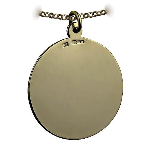 9ct Gold 30mm round plain round Disc with a Belcher chain