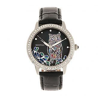 Bertha Madeline MOP Leather-Band Watch - Black