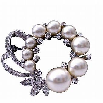 Kubischer Zirkon Braut Perlen verziert Ausbreitung Brosche Pin