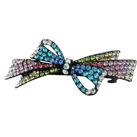 Multicolored Crystal Hair Barrette Fabulous Party Wear Hair Accessory