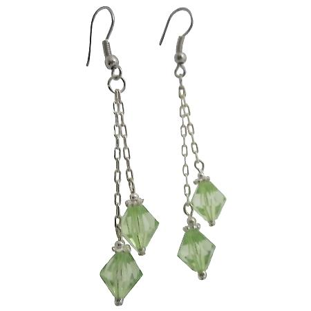Peridot Crystal Earrings 8mm Bicone Chinese Crystals Double Strings