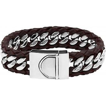 Clio Blue BR2172S-BROWN - brown leather steel man Bracelet bracelet