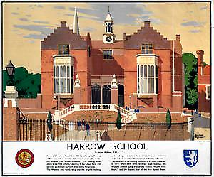 Harrow School (old rail ad.) fridge magnet    (se)