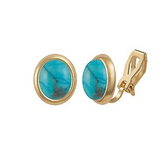 Eternal Collection Minuet Turquoise Gold Tone Stud Clip On Earrings