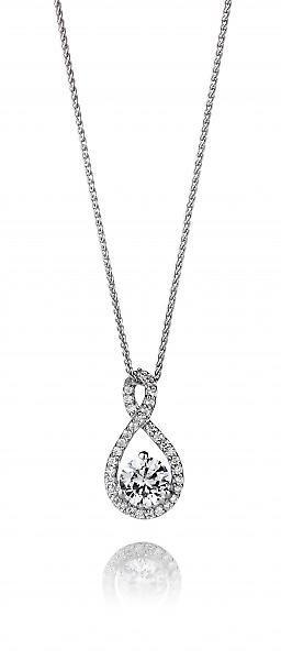 Cavendish French Sterling Silver and CZ Looped Bail Teardrop Pendant without Chain