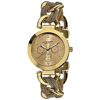 Akribos XXIV Women's AK564YG Two Time Zone Date Quartz Link Bracelet Watch
