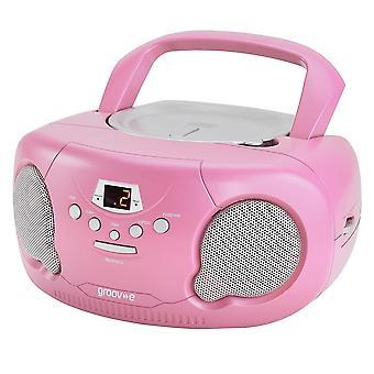 Groov-e Boombox Portable CD Player mit Radio/Aux In/Kopfhörerrosa (GVPS733PK)