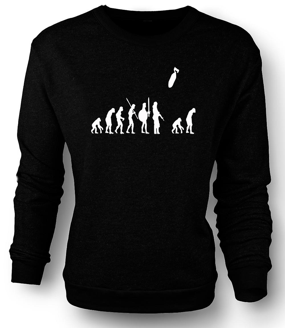 Mens Sweatshirt Mans Evolution Of War & Life