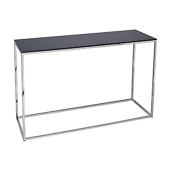 Gillmore Space Black Glass And Silver Metal Contemporary Console Table