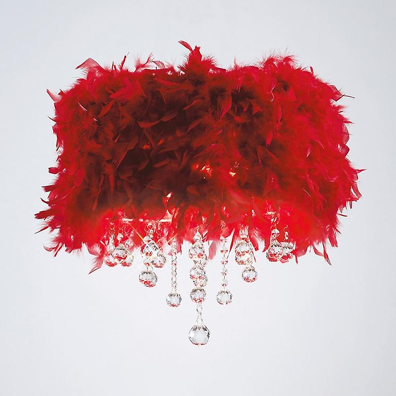 Ibis Ceiling With rouge Feather Shade 3 Light Polished Chrome crystal