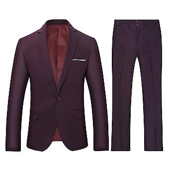 Allthemen Men's 2-pieces Classic Suits One Button Casual&Formal Slim Fit Suits Wedding Blazer&Trousers